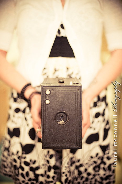 Another old camera we found. This one is a Kodak Brownie.