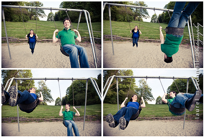 pregnant mother and father on a swing set