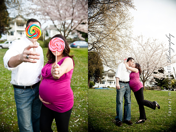 Colorful lollipops mimic the shape of her pregnanty belly during a belly photoshoot in Seattle by Laurel McConnell Photography