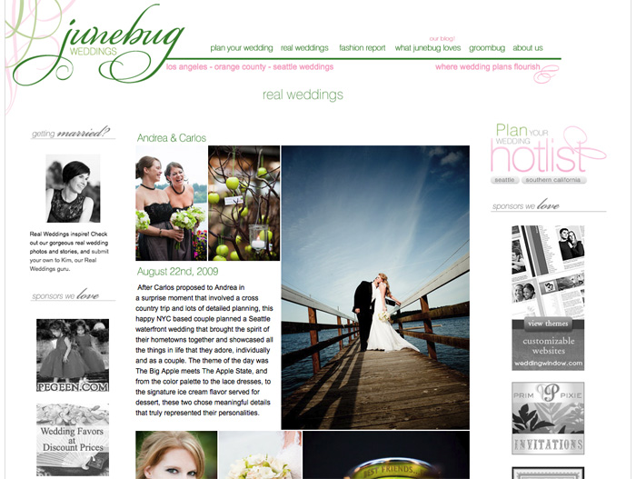 Our wedding photography was published on Junebug's style blog