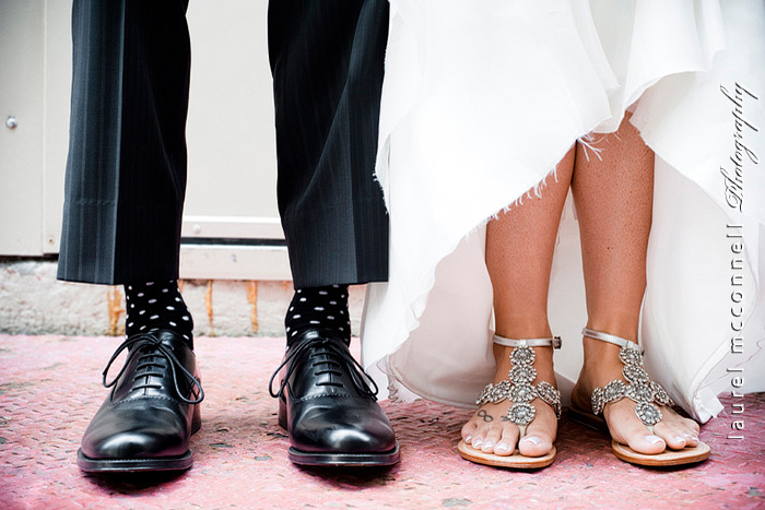 polka dot socks and gladiator sandals on bride and groom by  seattle wedding photographer laurel mcconnell