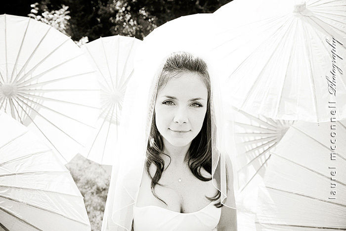 happy bride and parasols by wedding photographer in Seattle Laurel McConnell Photography