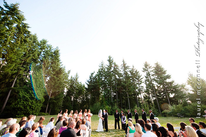 wedding photographer laurel mcconnell photographs this forest  ceremony at Dragonfly Retreat