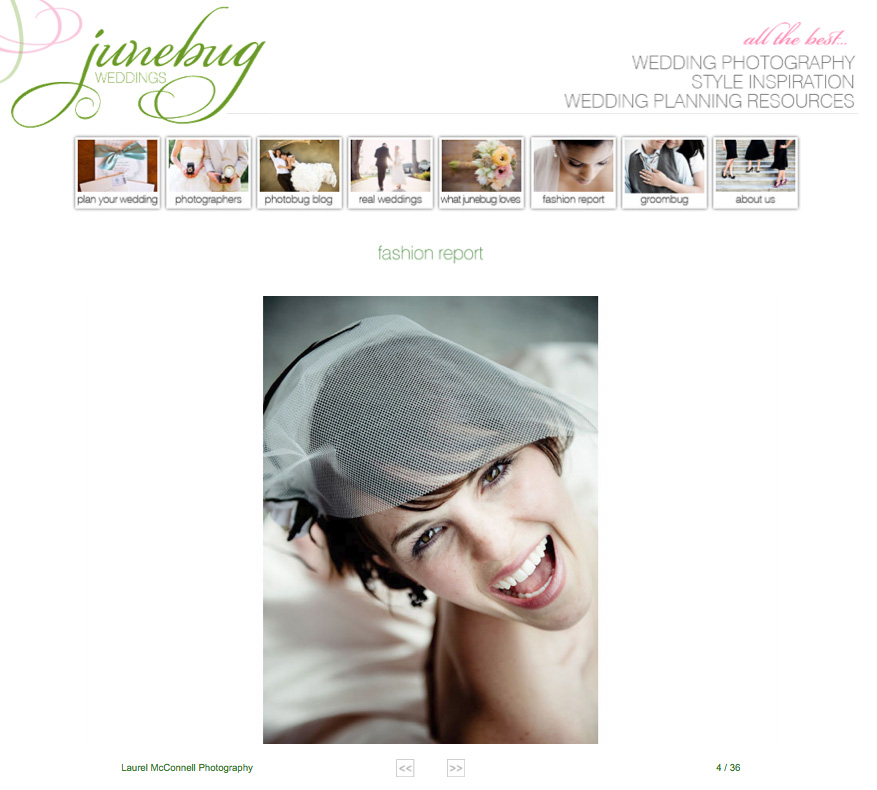 Laurel McConnell Photography's image of a bride laughing and  wearing a birdcage veil was published in an article about Beautiful  Brides for Junebug Weddings