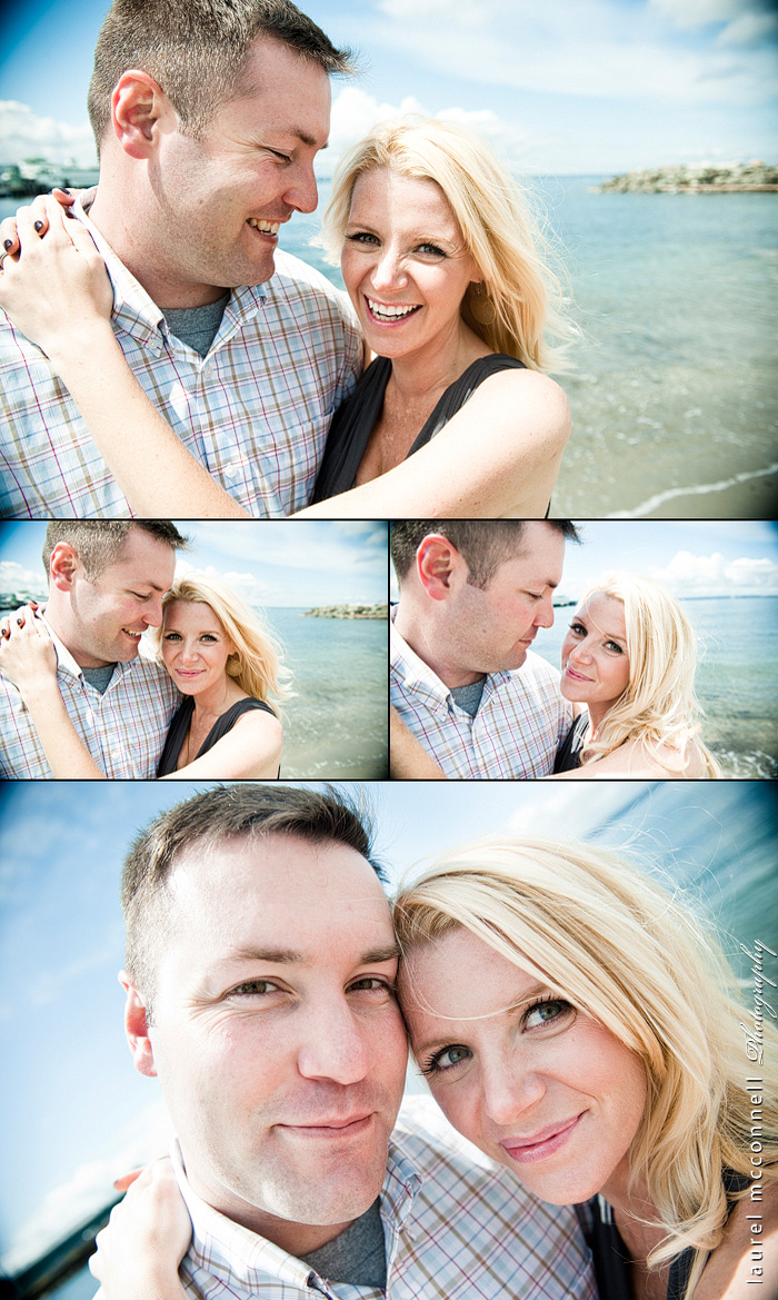 expectant couple smiling on the beach by Seattle portrait photographer Laurel McConnell