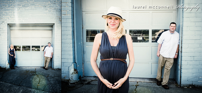 Seattle photographer Laurel McConnell takes modern maternity photographs of a couple in front of an old grungy blue wall