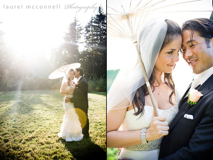 seattle photographer laurel mcconnell capures happy bride and  groom with parasol in the sun at dragonfly retreat