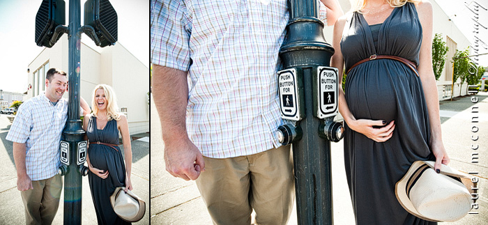 modern maternity photography of a couple under a vintage lightpost  in Edmonds by Seattle photographer Laurel McConnell