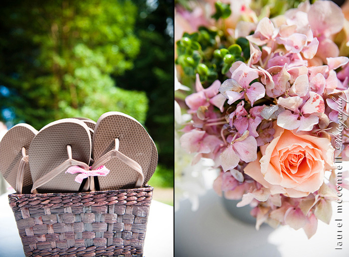 flip flops and bucket of vintage wedding flowers wedding  photograph by laurel mcconnell photography