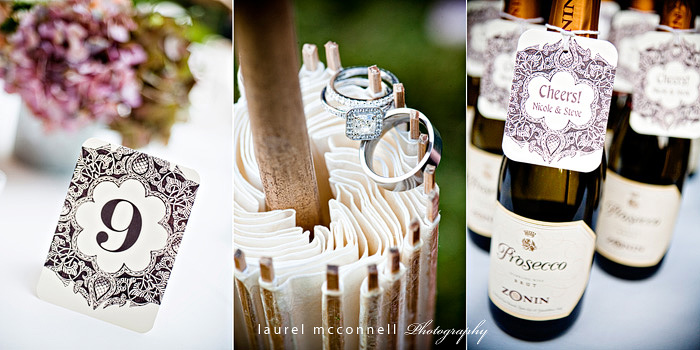 modern ring, wedding parasol, champagne, vintage antique table numbers photographed by seattle wedding photographer laurel mcconnell