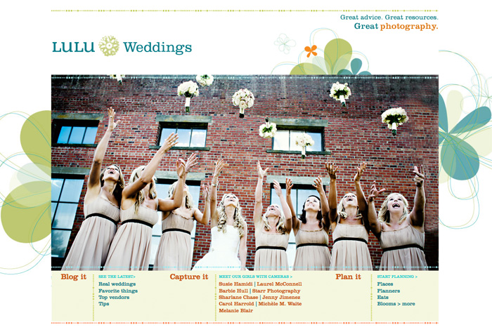 wedding planning vendor referral website home page with happy glamorous bridesmaids throwing bouquets in the air