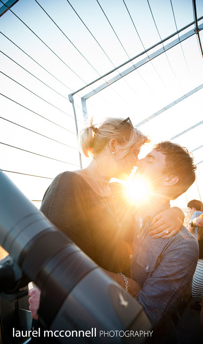 engagement portrait atop the space needle in seattle