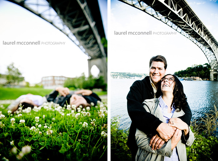 fun engagement portraits under seattle bridge