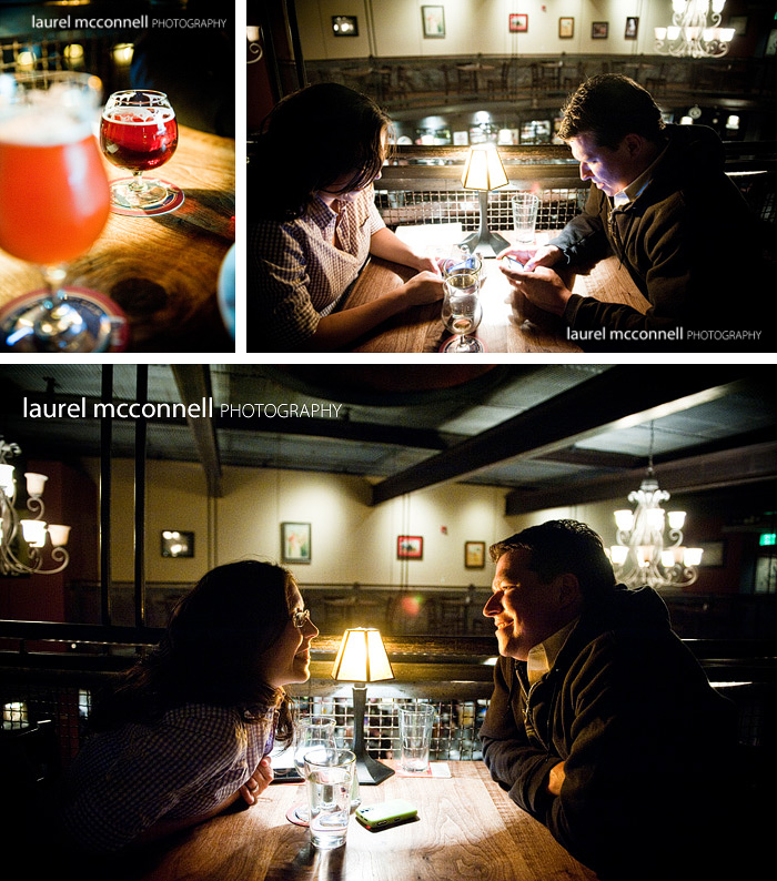 engagement portraits in the pub