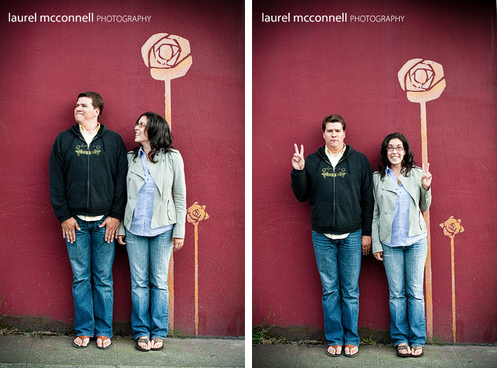 silly engagement portraits and red wall
