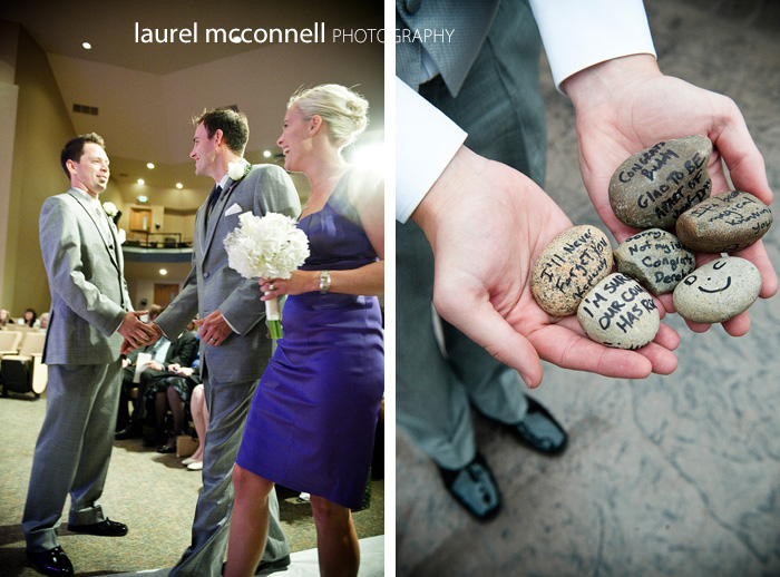 photographs of rocks with message at seattle wedding ceremony