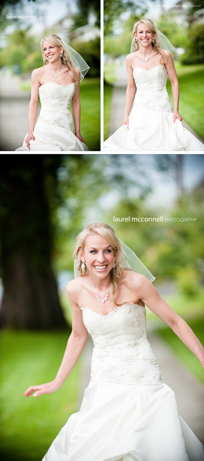 photograph of a happy bride by seattle photographer laurel  mcconnell