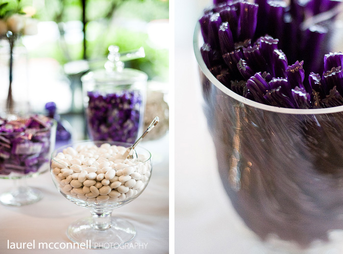 pictures of a purple candy bar at a wedding in seattle