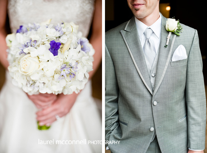 white and purple wedding bouquet and boutonniere