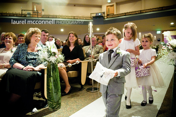 ring bearer at church ceremony