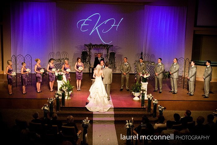 church ceremony with purple lighting and gobo