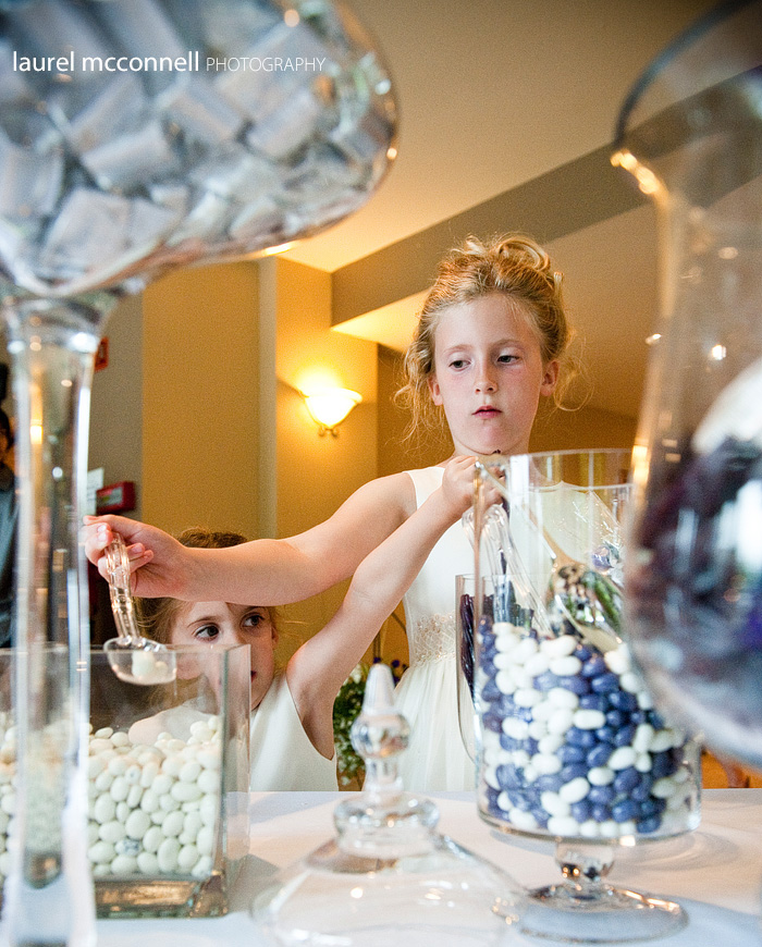 flower girls dish up at the candy bar