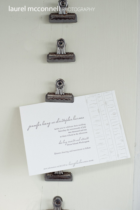 rustic letterpress wedding invitation with tree bark wood