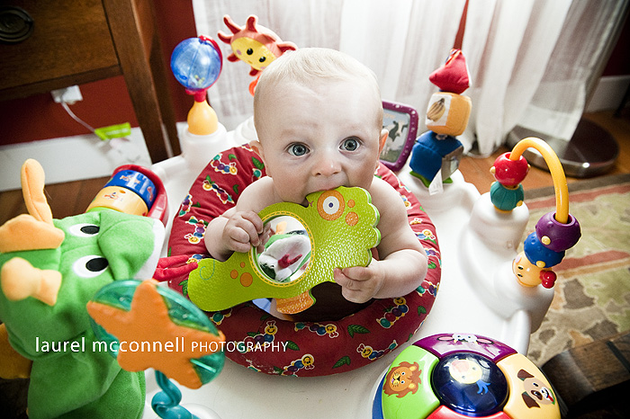 photograph of seattle baby with colorful toys