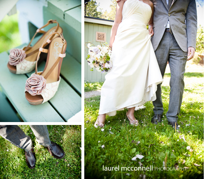 wedding shoes for bride and groom at a garden wedding in Seattle