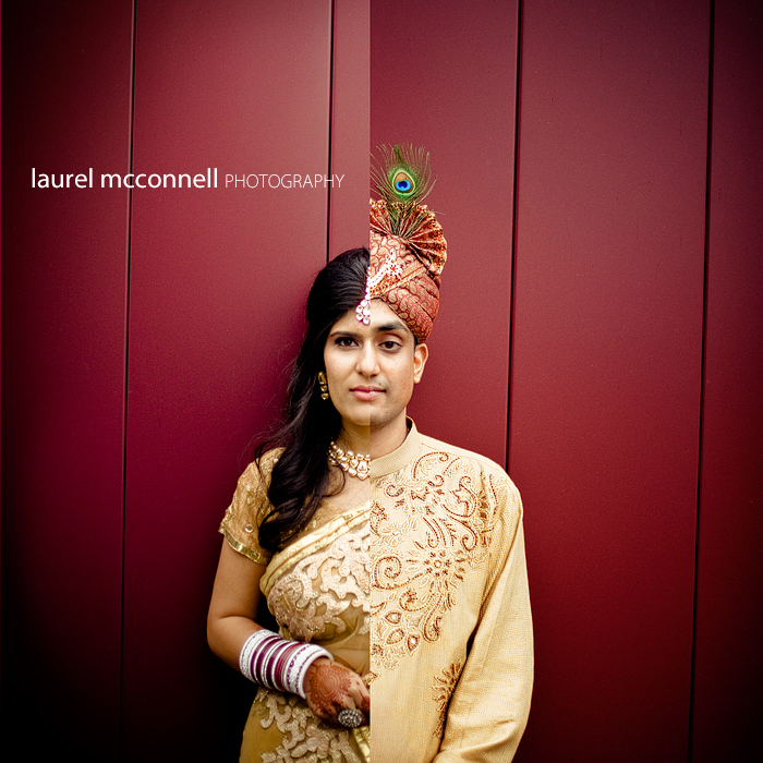 a split frame of an indian bride and groom against a red wall in Seattle. she's wearing a gold sari.