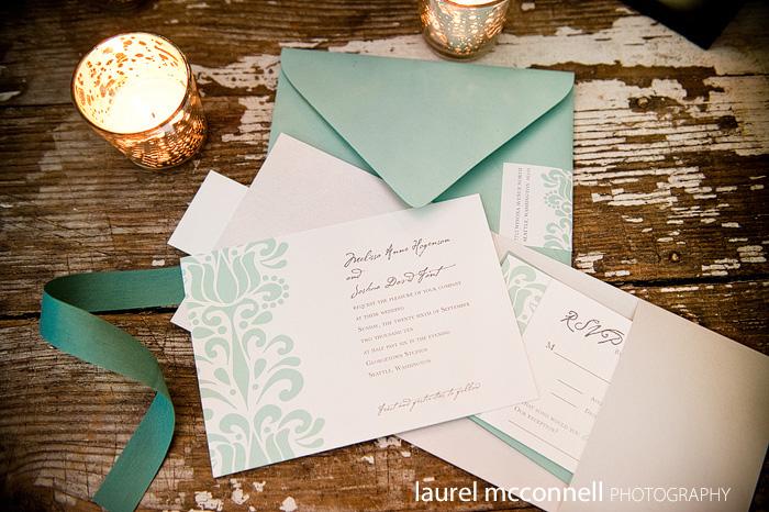 turquoise blue damask vintage wedding invitation