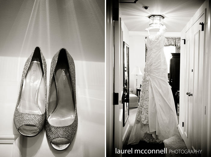 rhinestone shoes and beautiful wedding gown