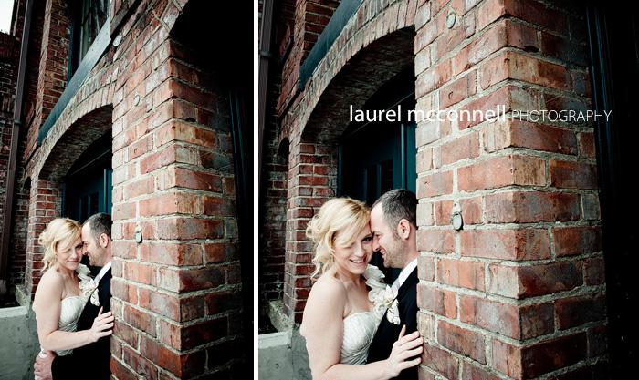 bride and groom in brick doorway