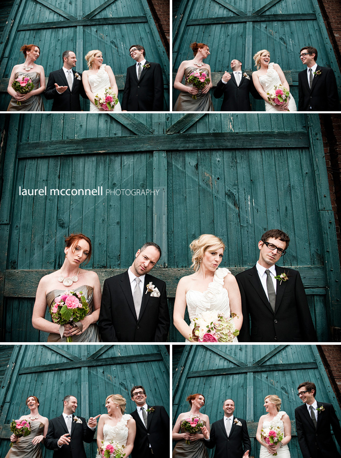 fun wedding party pictures by a dilapidated door in georgetown seattle