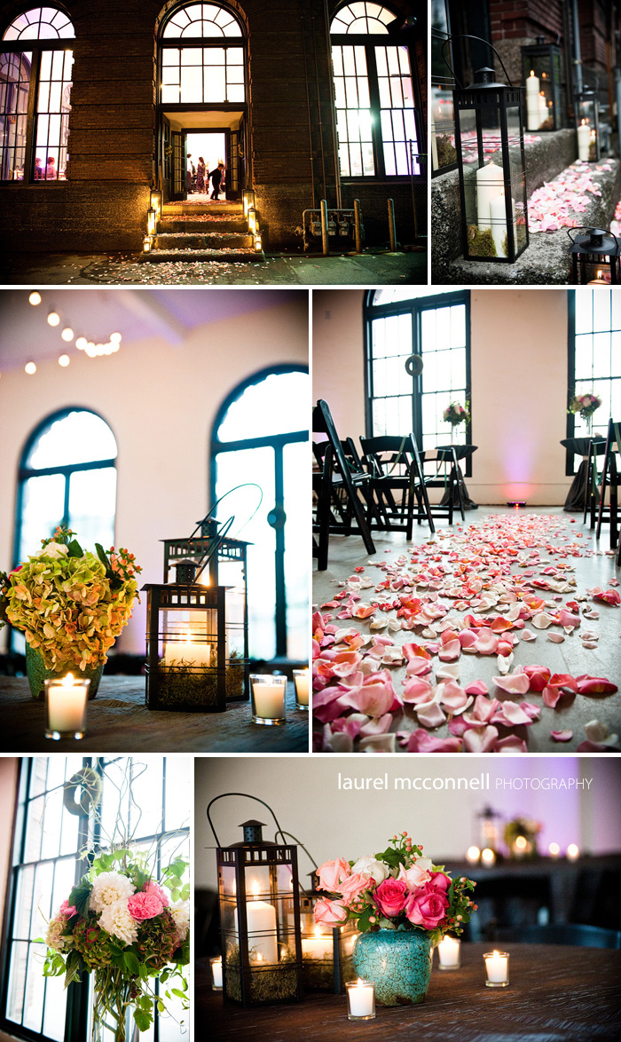parisian pink wedding globe lights and hydrangeas at Georgetown Studios Seattle