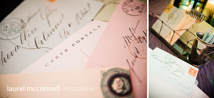 vintage post card stamps and guest book from paris