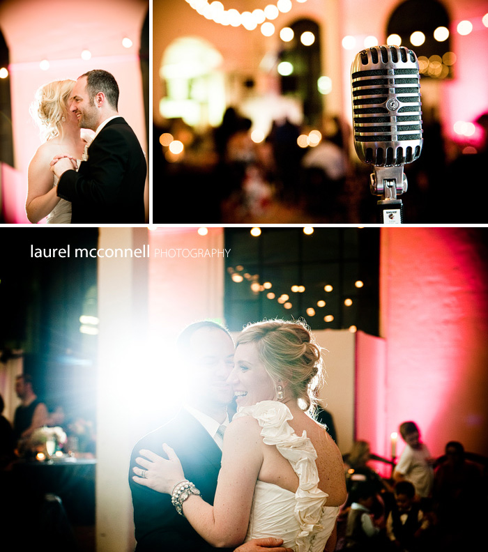 vintage microphone with italian globe bistro lights during a bride and groom's first dance