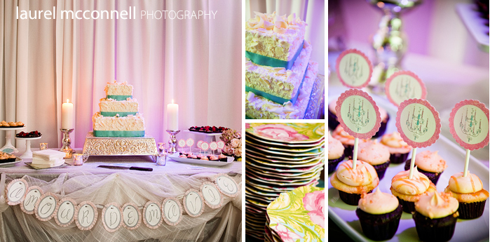 whimsical cake dessert table with cupcakes and tarts