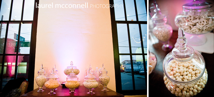 a pink and white candy bar by Stephanie Solomon Events at a Seattle wedding using apothecary jars