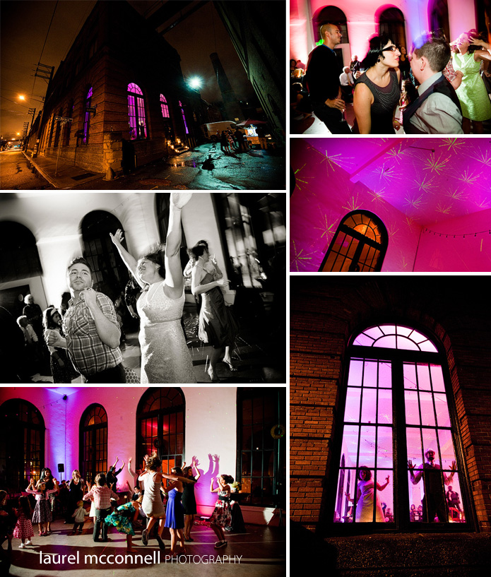 wedding reception dancing at georgetown studios at night, lit with pink LED lights and lasers