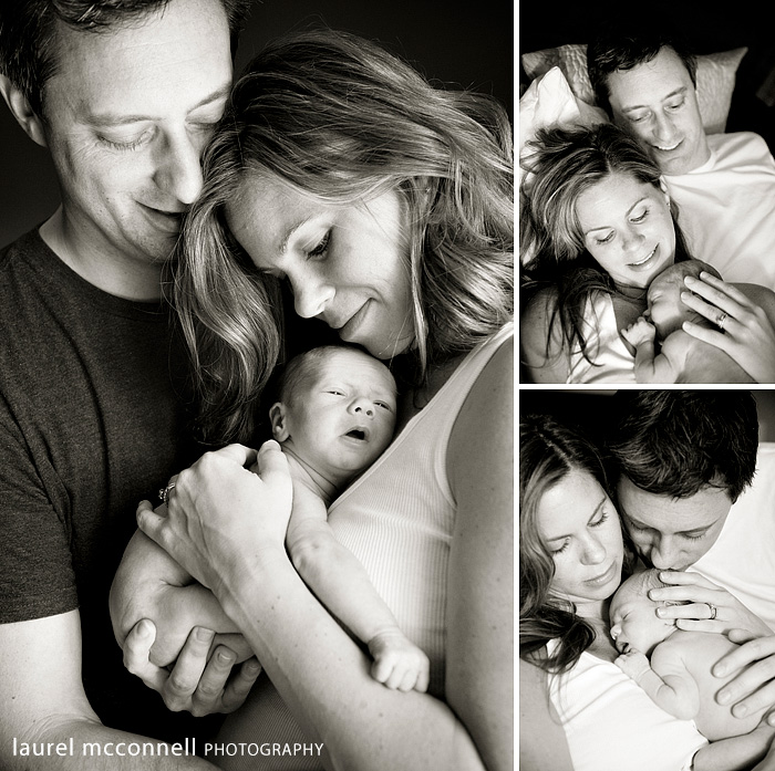new parents cuddle their newborn baby photographed by seattle photographer laurel mcconnell