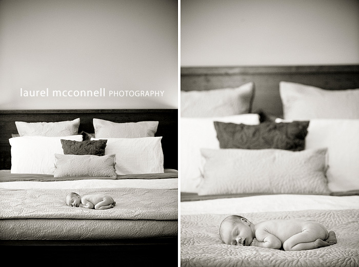 photography of a tiny newborn baby on a bed
