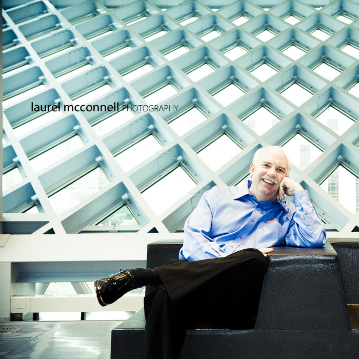 a business portrait of US Bank President Ken Kirkpatrick at the Seattle Public Library