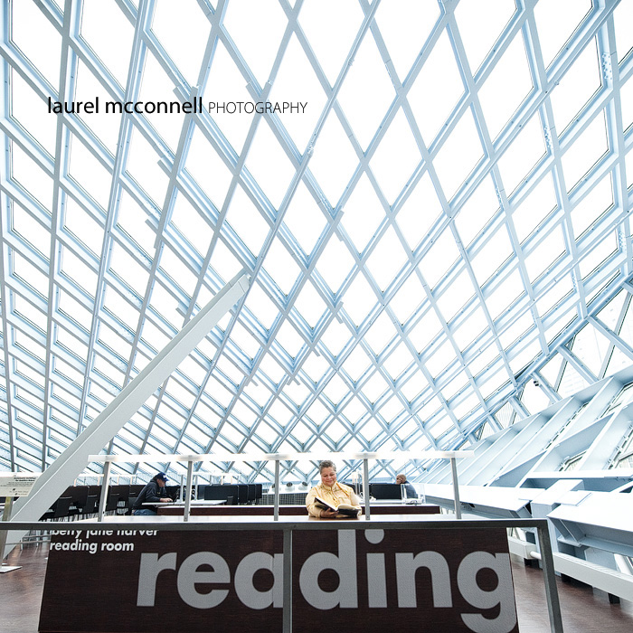 a portrait of author Nancy Rawles at the reading desk in the seattle central library