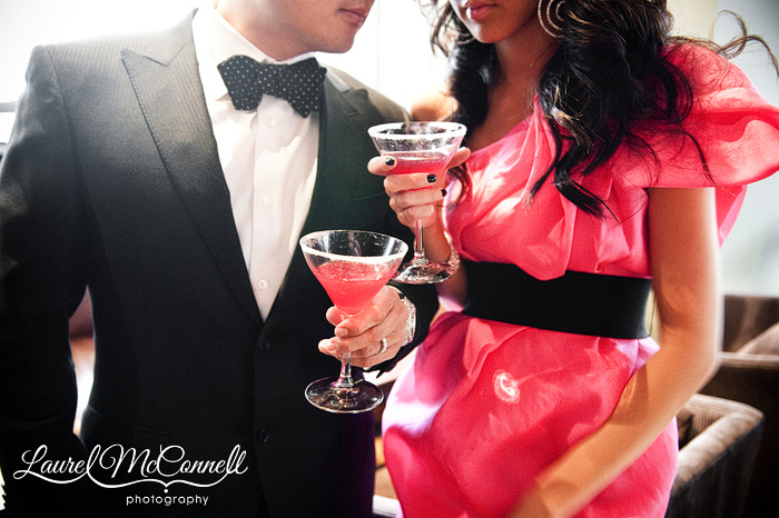 polka dot bowtie and martinis for a glamorous engagement portrait