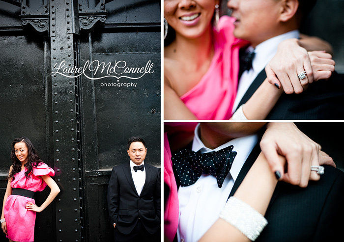 dressy engagement portraits of a hot pink dress and polka dot bowtie on the Seattle waterfront