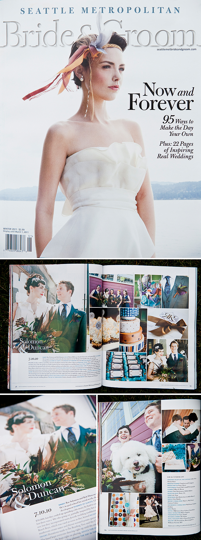 real wedding feature in Seattle Metropolitan Bride and Groom if a vintage inspired Sodo Park wedding