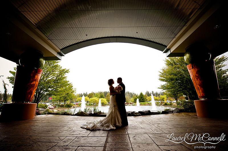 dramatic silhouette shot at a wedding at the tulalip casino resort by seattle wa