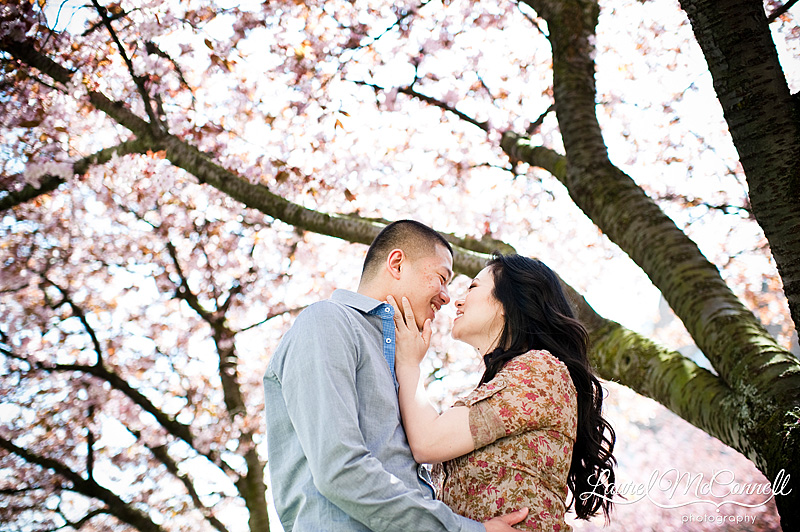 Nikon 35mm f1.4 review of cherry blossom engagement portrait
