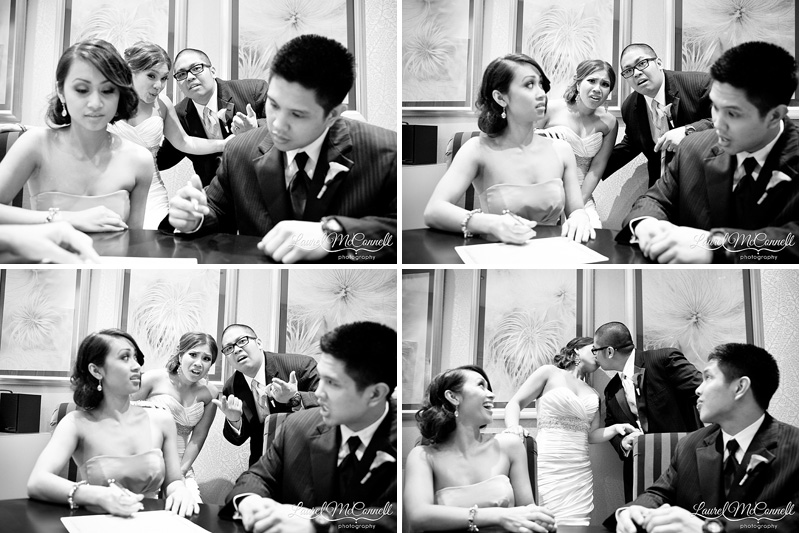 funny wedding series of signing the marraige license